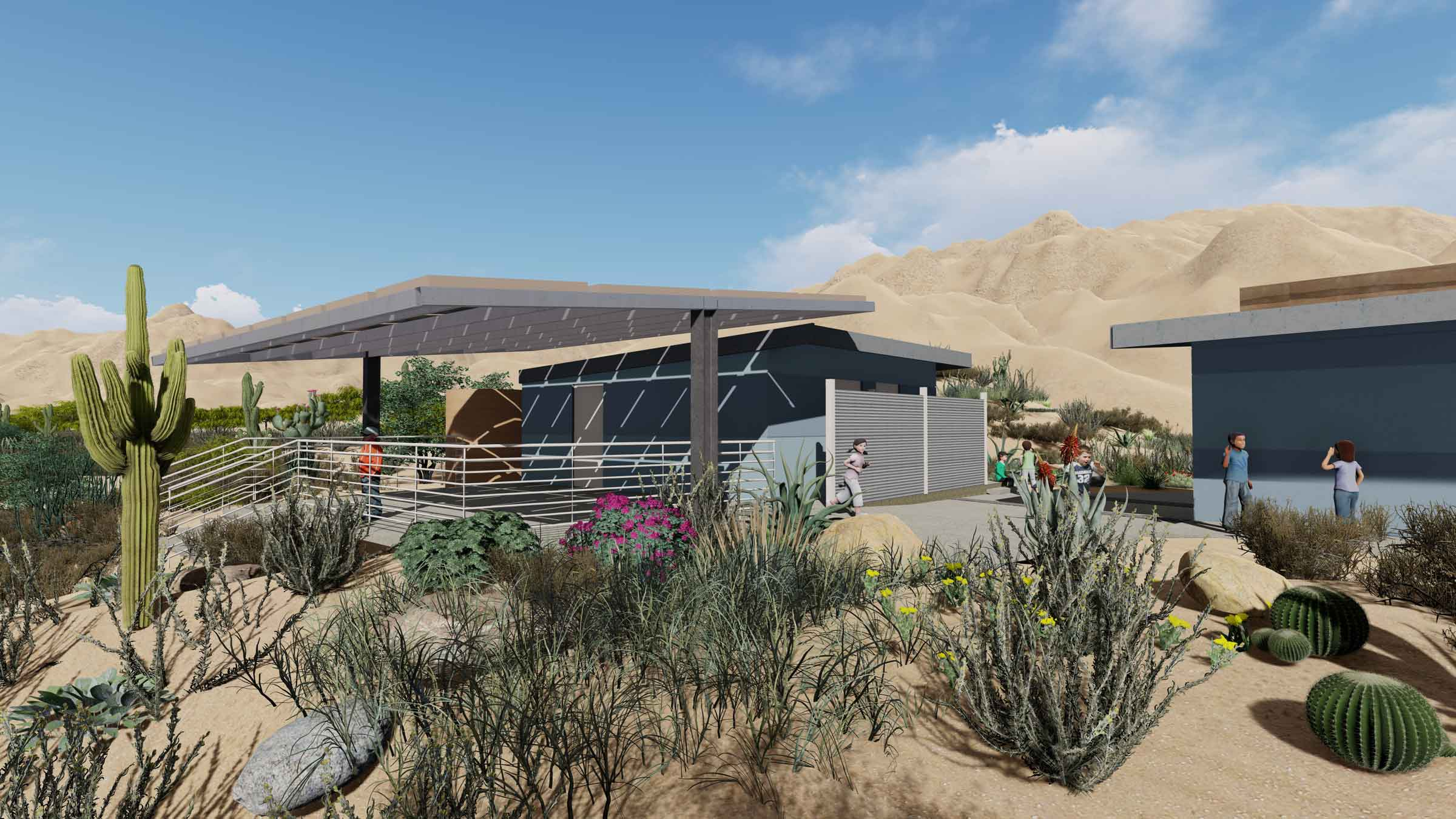 Rainwater, harvested from increased roof surface, will feed surrounding native planting areas.
