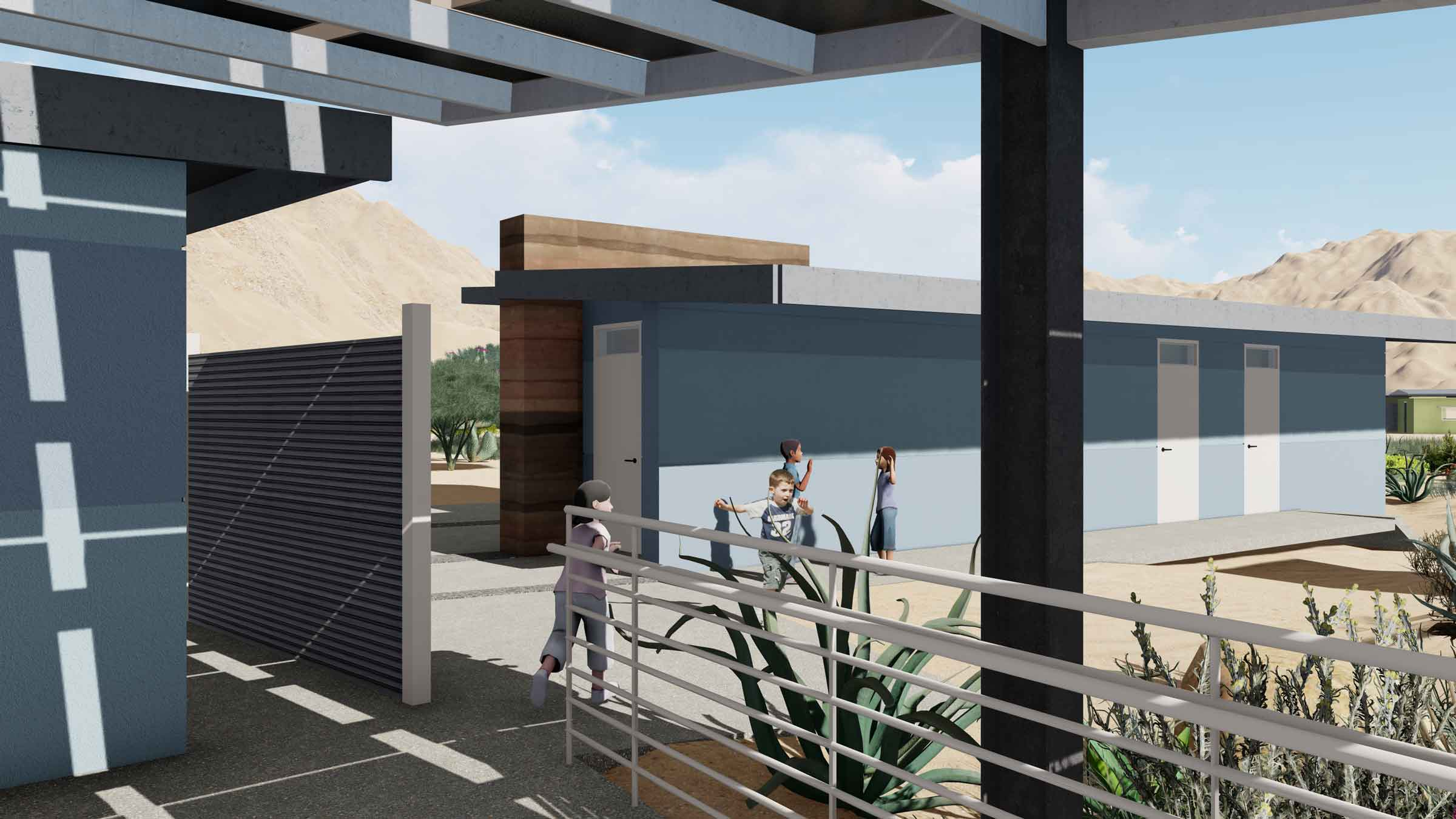 Shaded passageways and native landscaping will surround the new facilities.  All facilities and walk