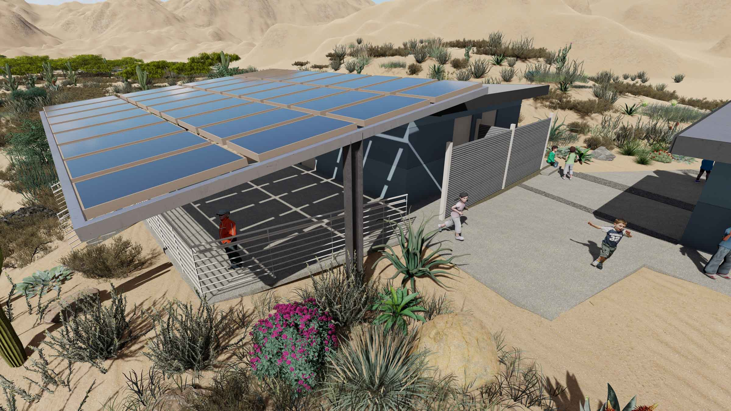 A solar shaded classroom adjoins one of the buildings acting as a teaching center and desert gateway